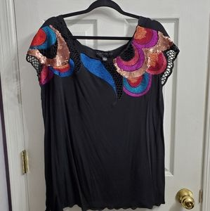 Forever 21+ swirl design black plus size blouse 2x